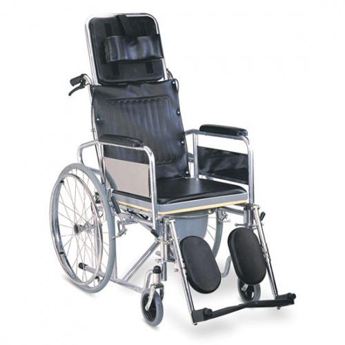 Универзална инвалидска количка со подвижен наслон и папучи кои се подесуваат - стандард и адаптација за WC